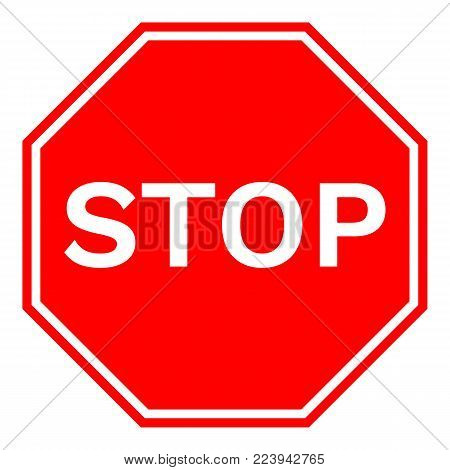 STOP road sign in red octagon. Vector icon.