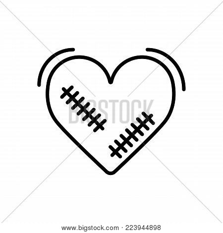 Broken heart vector icon with wound, patches isolated in white background. Vector illustration. Outline design. Eps 10