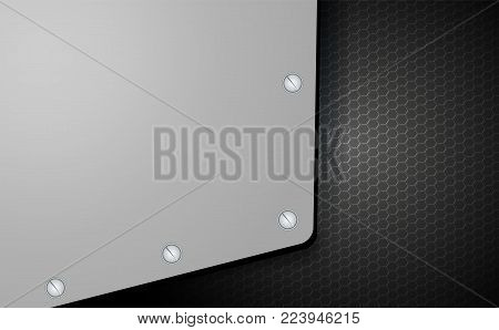 abstract geometric background, mesh black grille with metal corner with bolts