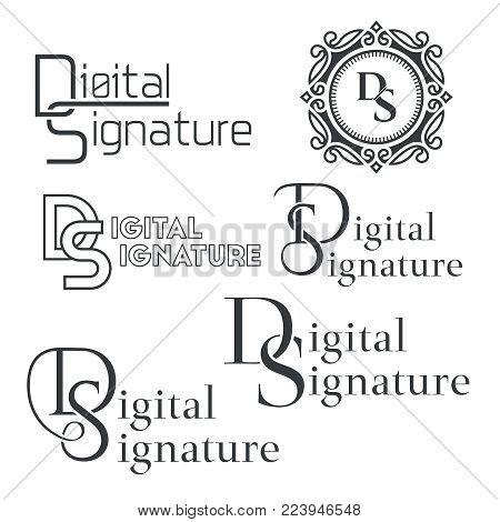 Set of text logos Digital signature.Letters DS. Monogram. Business service. Monochrome text. Vector illustration.