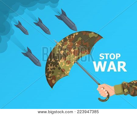 The hand of the military person holds the opened camouflage umbrella.Protection against bombs.The concept prevention from military operations. Stop war.Vector illustration in flat style.