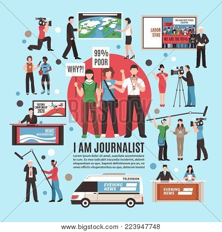 Journalist profession composition on blue background with live reportage, tv news program, weather forecast, interview vector illustration