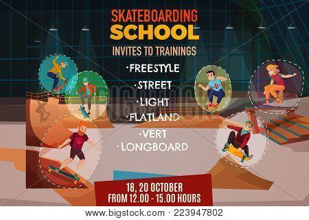 Skateboarding school poster with invite to training for flatland vert longboard street freestyle styles cartoon vector illustration