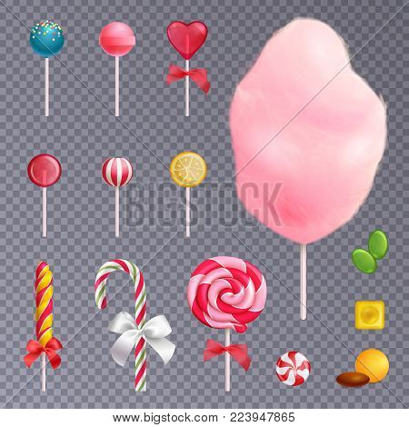 Set of realistic sweets including fruit lollipops, cotton candy, caramels on isolated on transparent background vector illustration