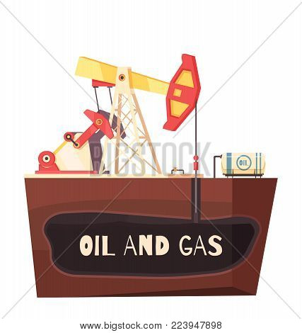 Oil production conceptual composition with flat sectional view of rig site with sucker-rod pumping unit vector illustration