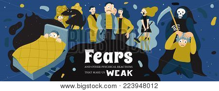Human fears poster with nightmare and phobia symbols flat vector illustration