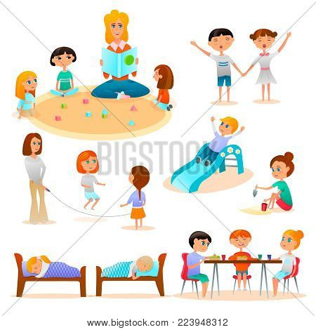 Kindergarten characters flat icon collection with kids playing in sand skipping rope sleeping eating isolated vector illustration