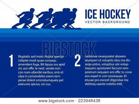 Ice Hockey vector background - blue player silhouettes moving with hockey-sticks. Sport team poster or card template with place for text. A4 size.