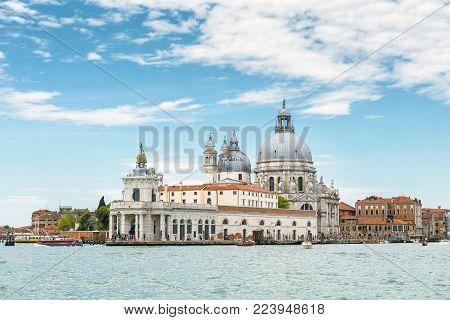 Venice, Italy. Grand Canal with Punta della Dogana and Basilica di Santa Maria della Salute.