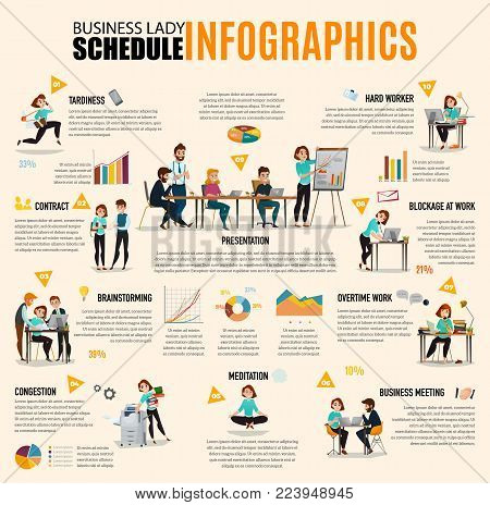 Time management infographics layout with business lady schedule in images accompanied by text flat vector illustration