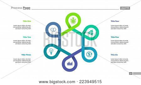 Six points process chart slide template. Business data. Improvement, stage, design. Creative concept for infographic, presentation, report. For topics like management, consulting, teamwork.