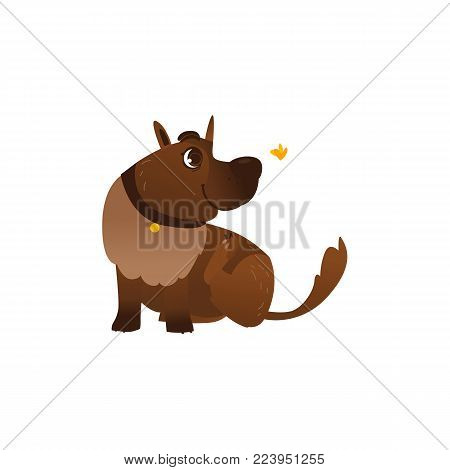 Vector flat brown dog character playing with butterfly. Cartoon illustration, funny puppy pet animal in collar with friendly smile. Isolated illustration on a white background.