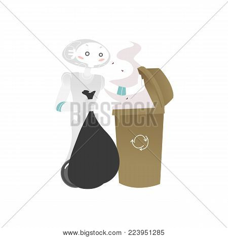 Wheeled robot assistant taking garbage out, throwing it into trash bin, artificial intelligence concept, flat cartoon vector illustration isolated on white background. Funny robot taking garbage out