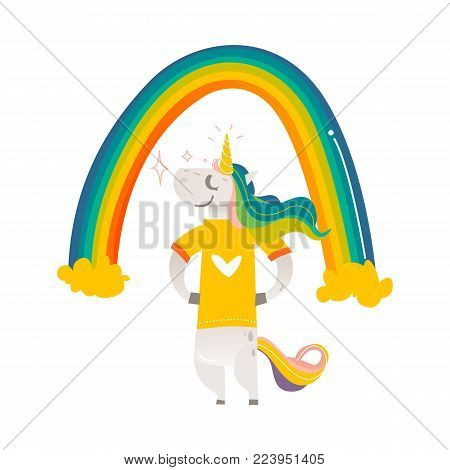 Funny unicorn character standing proudly under rainbow, wearing tshirt, flat cartoon vector illustration isolated on white background. Full length portrait of happy unicorn character under big rainbow