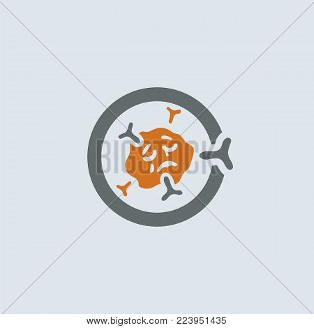 Gray-orange symbolic immunoglobulin molecule round web icon. Immune cell emaciated, exhausted and tired of interferon