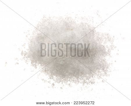 Pile of salt crystals isolated over the white background. Top view. Flat lay.
