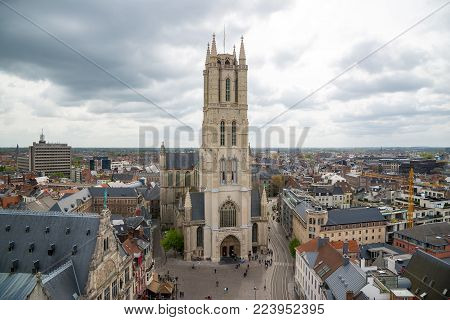 Ghent, Belgium - April 16, 2017: Saint Bavo Cathedral or Sint-Baafskathedraal, aerial view from Belfry. Ghent, Belgium