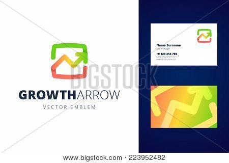 Growing chart logo and business card template. Vector illustration in modern gradient style.