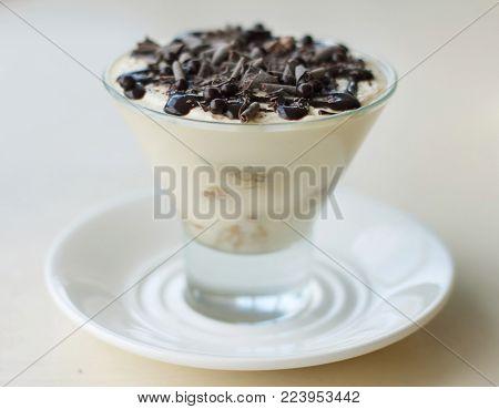 Tiramisu - a tasty mascarpone and savoiardi dessert close up