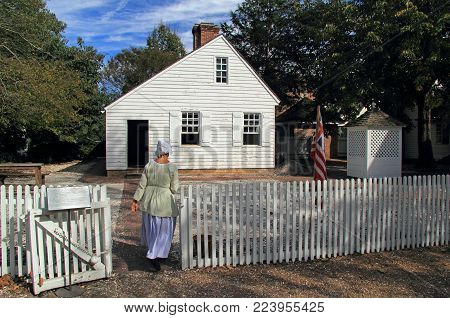 WILLIAMSBURG, VA - OCTOBER 6: The reconstructed James Geddy foundry provides visitors with a glimpse into the metalworking industry of colonial Virginia October 6, 2017 in Williamsburg, VA