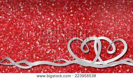 valentine card with two ribbons in the shape of heart on red background (3d render)