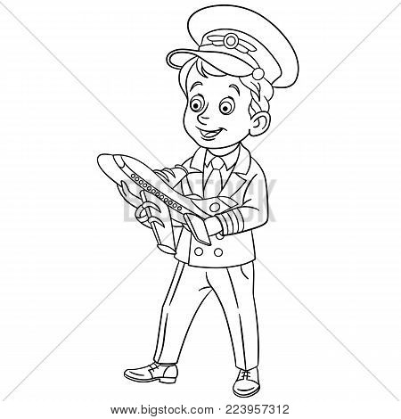 Coloring page. Cartoon Airplane Pilot with toy plane. Design for kids coloring book.