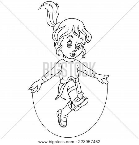 Coloring page. Cartoon girl jumping with skipping rope. Design for kids coloring book.