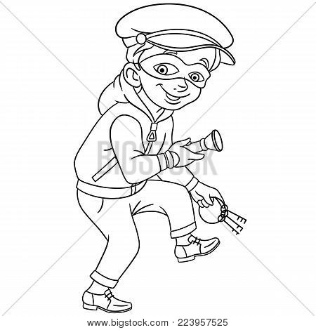 Coloring page. Cartoon criminal (thief) with house or bank keys and flashlight is running on tiptoe. Design for kids coloring book.