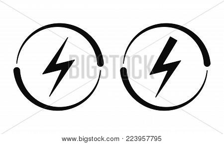Electrical Signs. Vector Icon of Electric Energy Symbol in Black and on White Background. Current Circulation