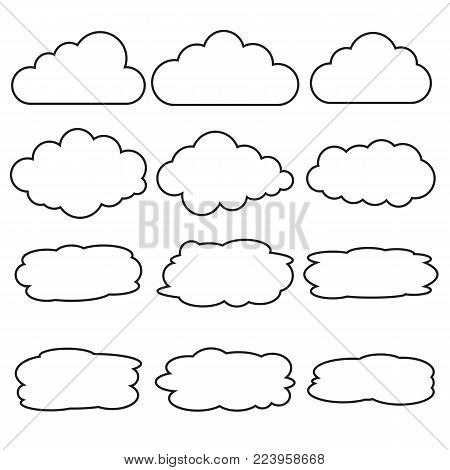 Vector set of different cloud line icons. Thin linear icons clouds for web and app, for cloud computing