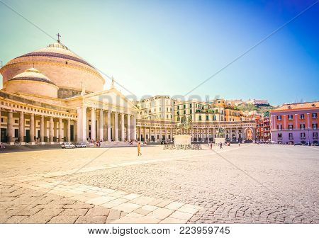 view of famous Piazza del Plebiscito at summer, Naples Italy, retro toned