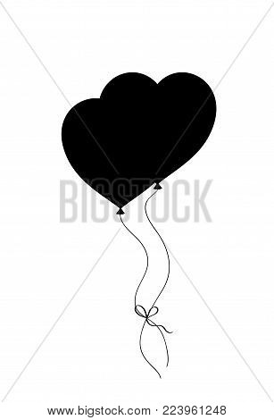 Black silhouette of pair bounded heart shaped helium balloons isolated on white background. Vector illustration, icon, logo, clip art, decor element, symbol of love for valentines or wedding design.