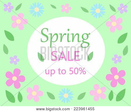 spring sale discount floral bacground text spring sale up to fifty percent on white and green with pastel colors pink and blue flowers and green leaves vector seasonal promotion template