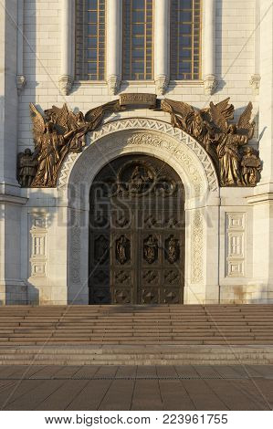 BRONZE DOOR AND CAST BRONZE DECORATIVE RELIEF ON CATHEDRAL OF CHRIST THE SAVIOUR MOSCOW RUSSIA