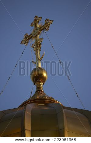 Gold Dome And Crucifix On Bell Tower Of Cathedral Of Christ The Saviour Moscow Russia