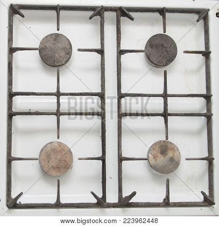 old gas stove as a background . Photos in the studio