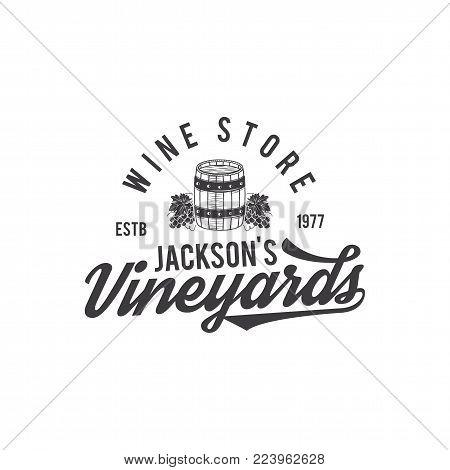 Wine shop logo, label. Organic wines.Vineyard badge. Retro Drink symbol - wine barrel, vines. Typographic design vector illustration. Stock vector emblem and icon isolated on white background.