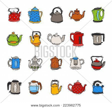 Teapot and kettle vector teakettle to drink tea on teatime and boiled coffee beverage in electric boiler in kitchen illustration kitchenware set isolated on white background.