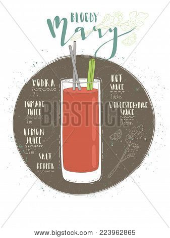Illustration of cocktail Bloody Mary. Vector illustration