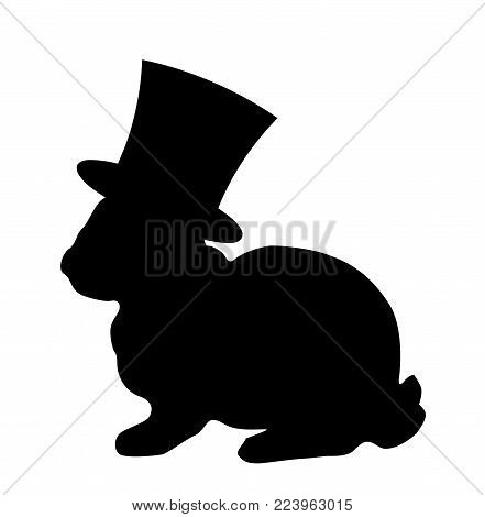 Black silhouette of fluffy rabbit or hare wearing magic cylinder top hat sitting  isolated on white background. Vector illustration, icon, logo, clip art.