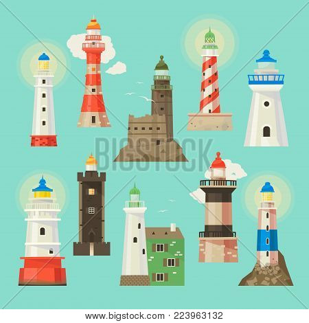 Lighthouse vector beacon lighter beaming path of lighting to ses from seaside coast illustration set of lighthouses isolated on white background.