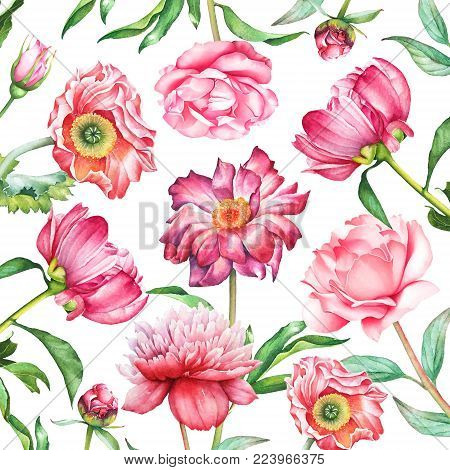Background with watercolor red and pink peony, rose, poppy and amaryllis flowers. Useful for design of cards, greetings and invitations.