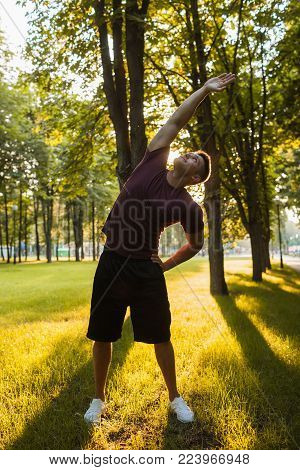 outdoor aerobics man training for good shape concept. lifestyle of hardworking people. the inner energy.
