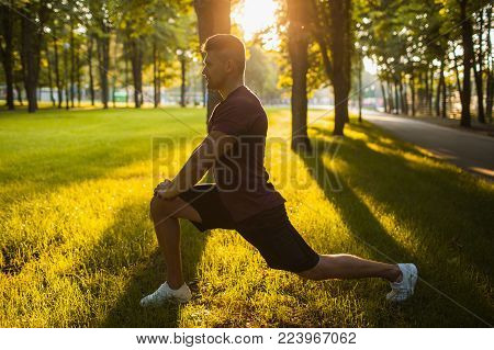 sportsman sit-ups workout outdoor exercises concept. lifestyle of hardworking people. the inner energy.