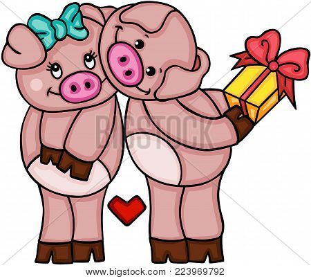 Scalable vectorial representing a cute couple of pigs in love, illustration isolated on white background.