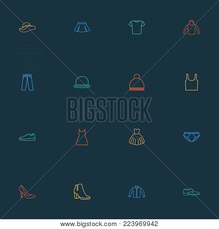 Clothes icons line style set with boots, underpants, dress and other shoe elements. Isolated vector illustration clothes icons.