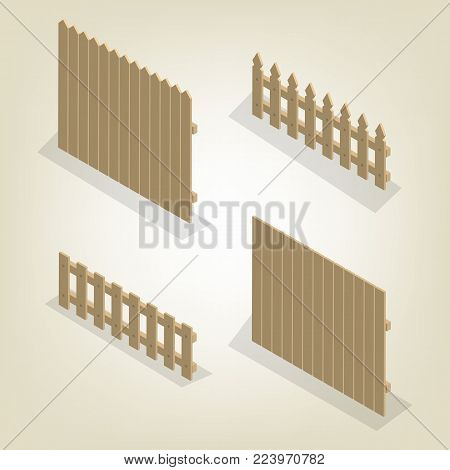 Set of spans wooden fences of various forms. Isolated on white background. Elements of buildings and landscape design. Flat 3D isometric style, vector illustration.