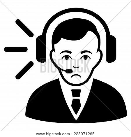 Unhappy Call Center Operator vector pictograph. Style is flat graphic black symbol with sorrow mood.