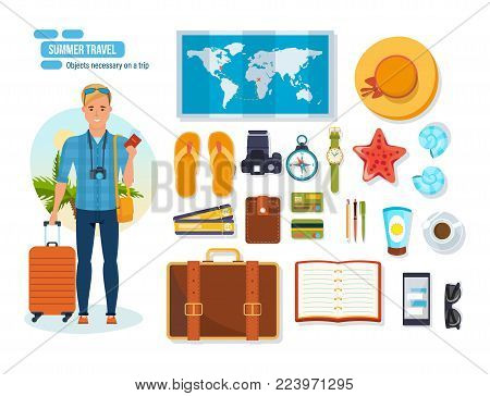 Summer travel concept. Young traveler man. Adventure travel. Summer vacation. Rest on the sea, objects necessary on trip and brought from place of rest. Vector illustration isolated.