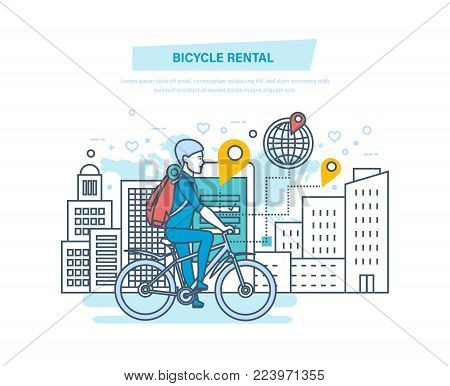Bicycle rental. City bike hire renting for tourists, city visitors. Young man rides in park by bike. Mobile application for searching and renting of bicycles. Illustration thin line design. poster
